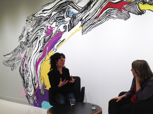 Sophia Ainslie (left) in conversation with Montserrat College of Art curator Leonie Bradbury.