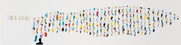 "Barry McGee — sheeple, gouache on paper, 12.5"" x 49.5"", 2009"