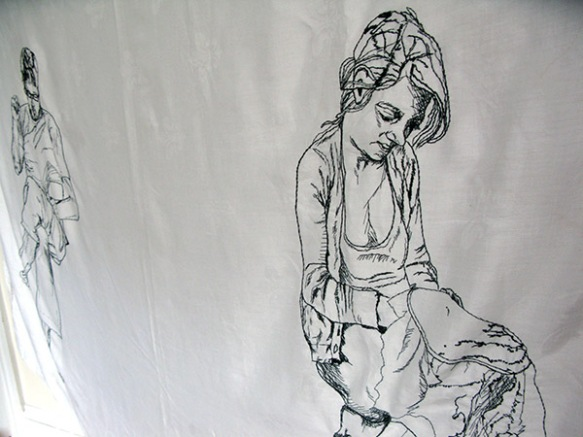 "the space between, hand embroidery on re-appropriated linen, 50 x 72"", 2012"