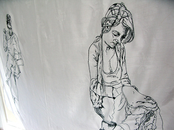 """the space between, hand embroidery on re-appropriated linen, 50 x 72"""", 2012"""