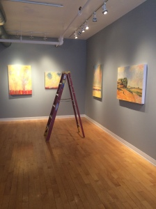 after hanging, during lighting, in Kingston's main gallery.