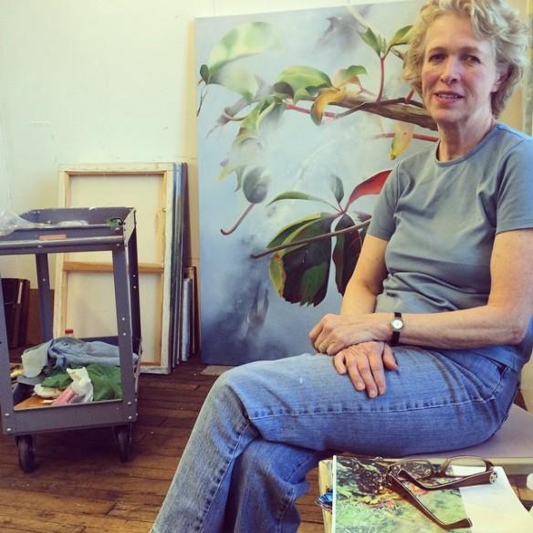 Joan Baldwin in her Waltham Mills Studio.