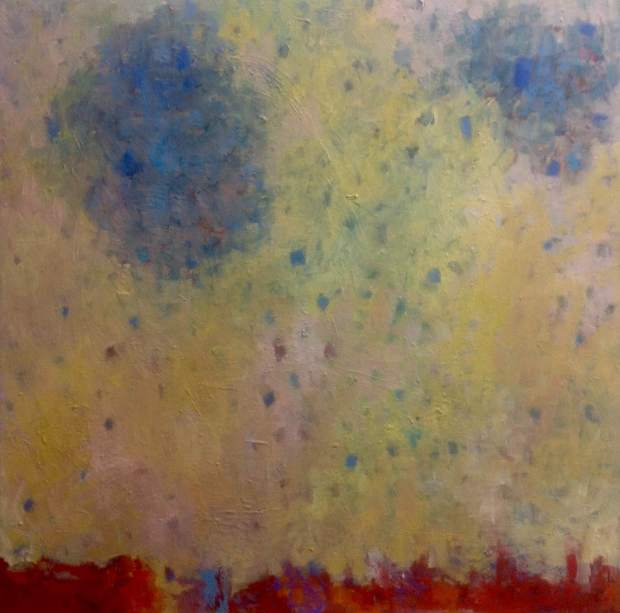 Escaping Blue, 2014, mixed media on canvas