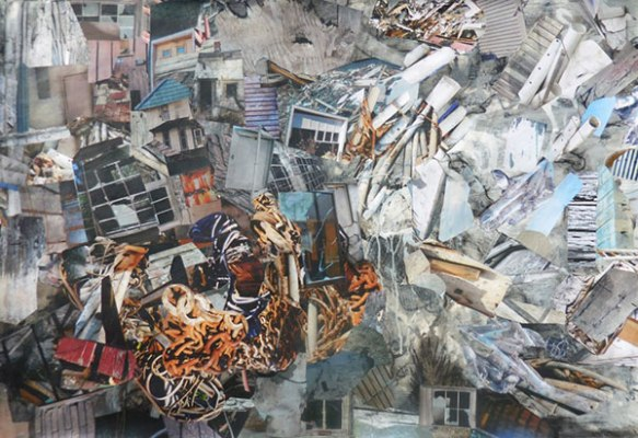 Barbara Moody, Microburst, collage on paper, mounted on panel,  30x44 inches.