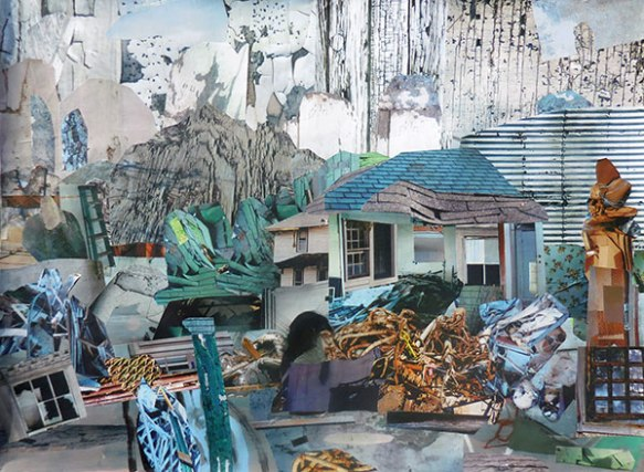 Partial demolition, paper collage mounted on panel, 20 x 30 inches, 2015.