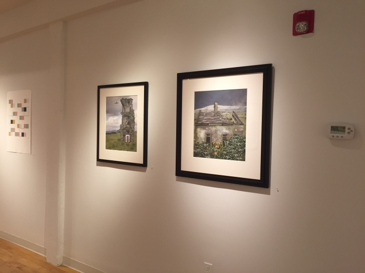 "Two of Wendy Seller's architectural landscapes from her Spaces/Places Series, L-R: ""Retreat"" and ""Home,"" 20 x 18 inches, archival pigment prints, 2015."