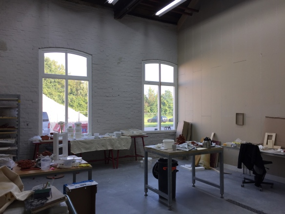 Interior of Christina's studio at her residency.