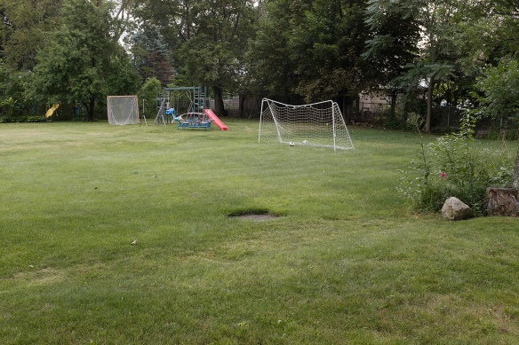Lang_Soccer net and backyards, late summer, Auburndale, MA, 2019